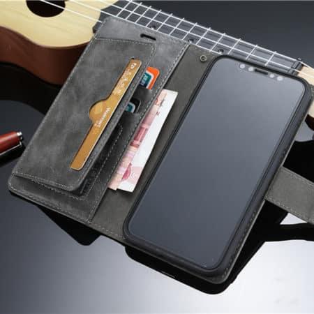 Leren case zwart met pasjeshouder voor iPhone